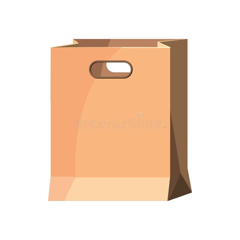 Brown paper bag icon, cartoon style. Brown paper bag in cartoon style isolated on white background vector illustration vector illustration