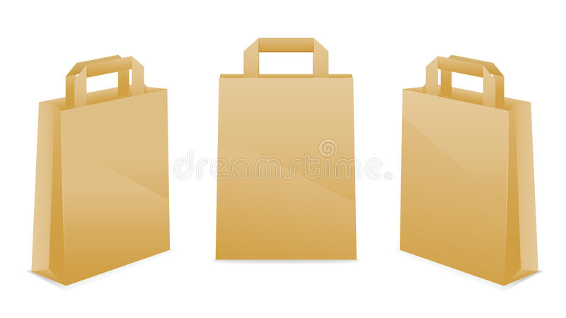 Download Brown Paper Bag Icons stock vector. Image of brown, handle - 17673080
