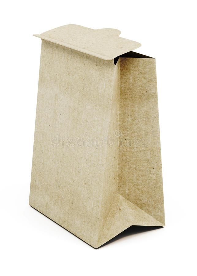 Brown paper bag isolated on white background. 3d render image.  royalty free illustration
