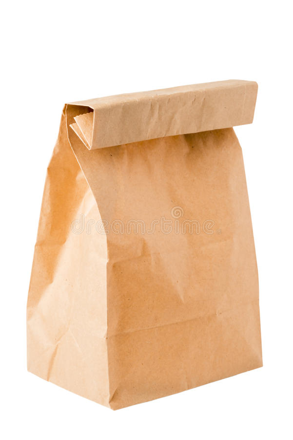 Brown paper bag for packing lunch stock images