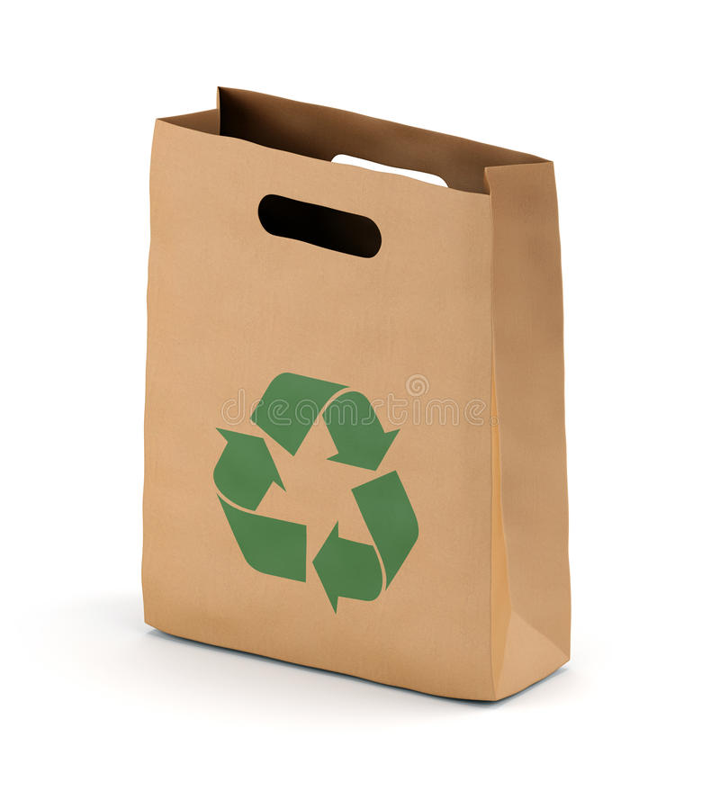 brown paper bag with recycling symbol stock image