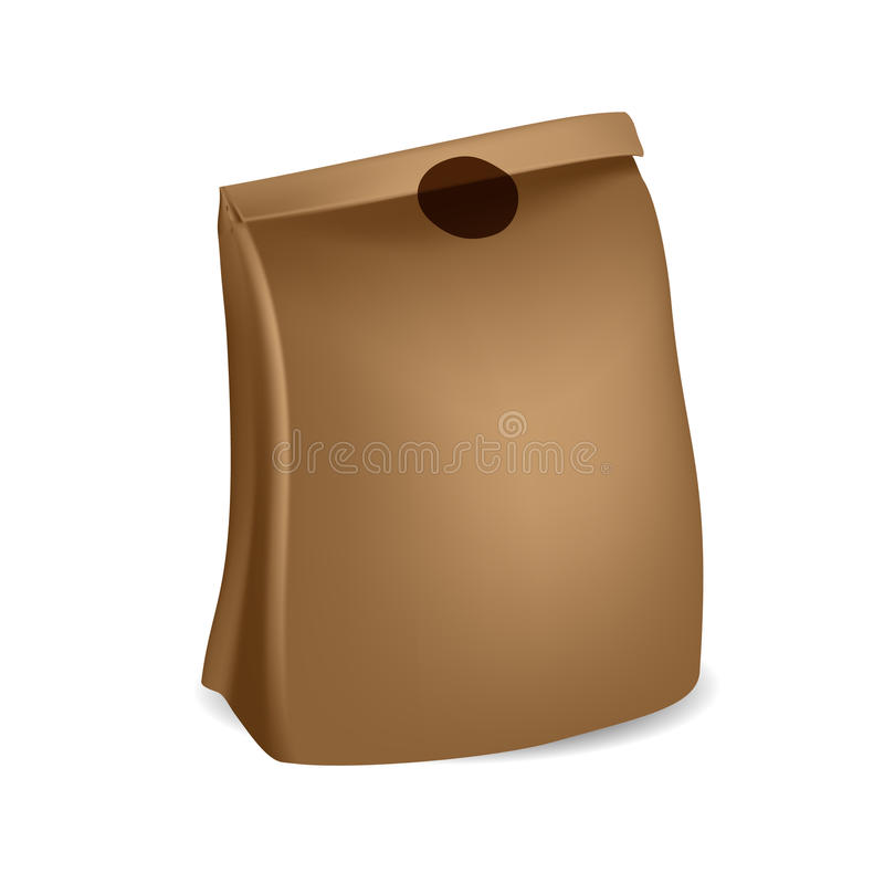 Brown paper bag with sticker on folded part. On white background. Mock-up template ready for design stock illustration
