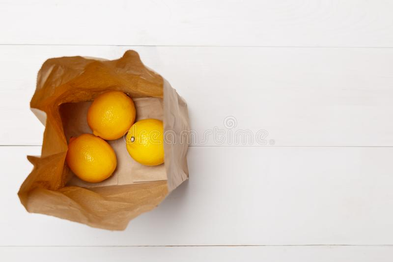 Brown paper bag from top view looking down inside at bottom stock photography