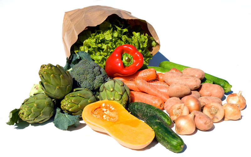 Brown paper bag and vegetables stock images