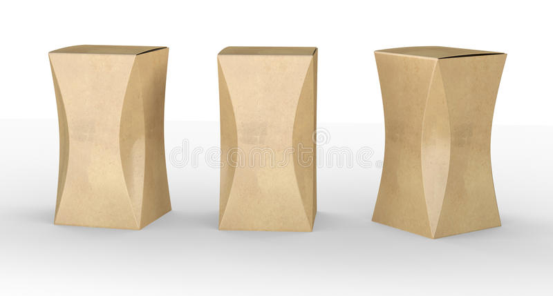 Brown paper box package with curve, clipping path included royalty free illustration