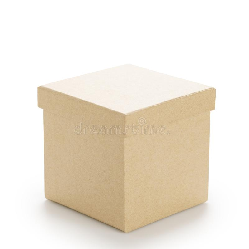 Free Brown Paper Box With Lid On White Stock Images - 102325034