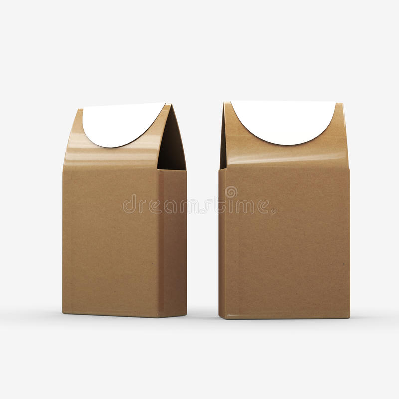 Brown paper food box packaging with clipping path royalty free illustration