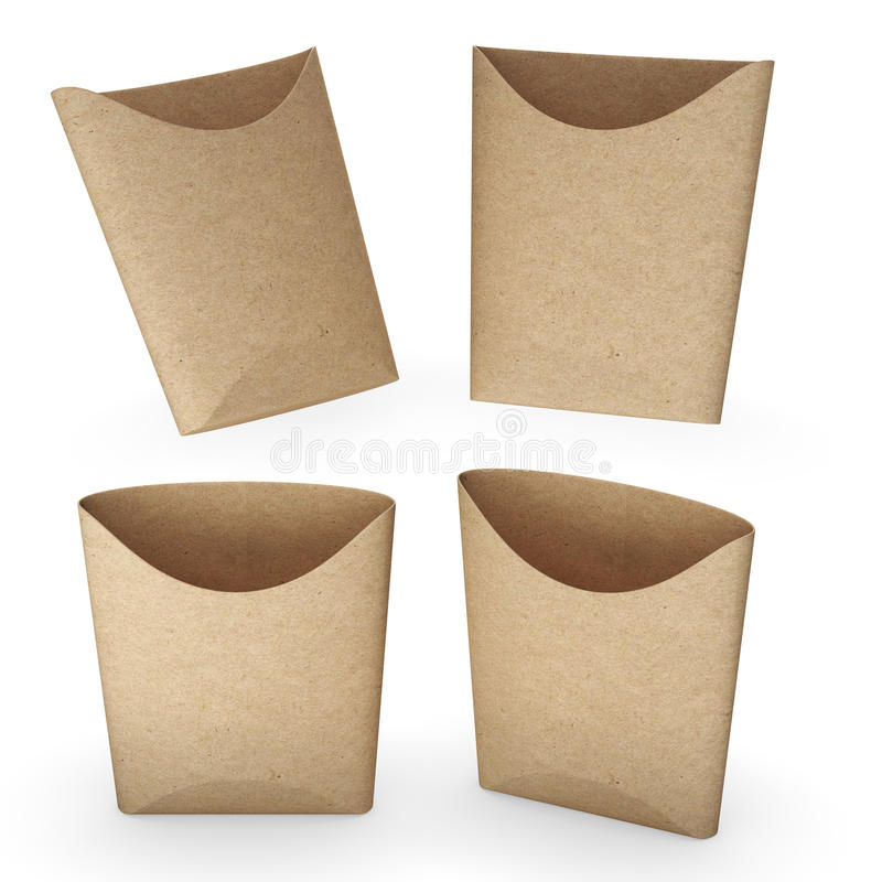 Brown paper french fries bucket with clipping path royalty free illustration