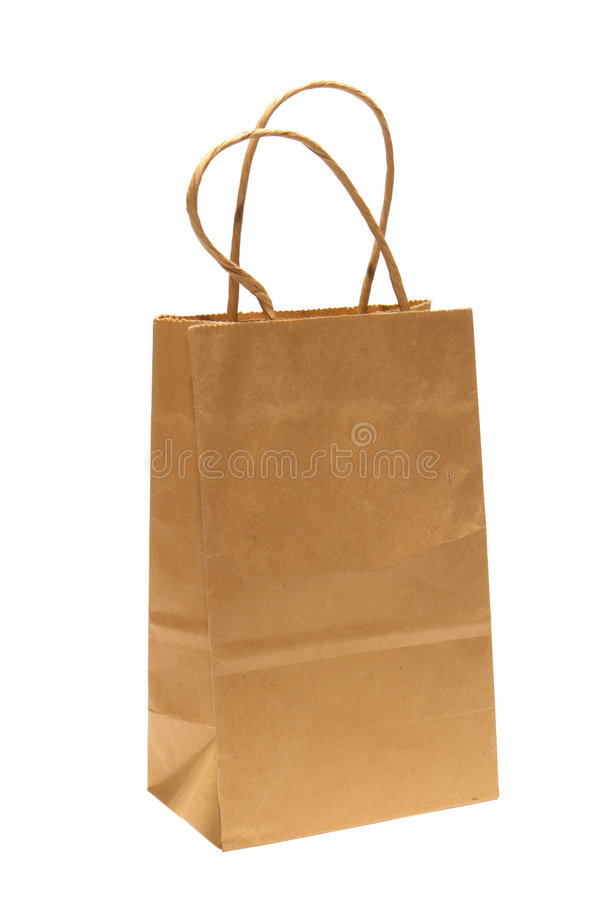 Brown Paper Kraft Shopping Bag Isolated on White royalty free stock photography