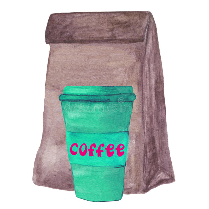 Brown paper lunch bag and coffee to go. vector illustration
