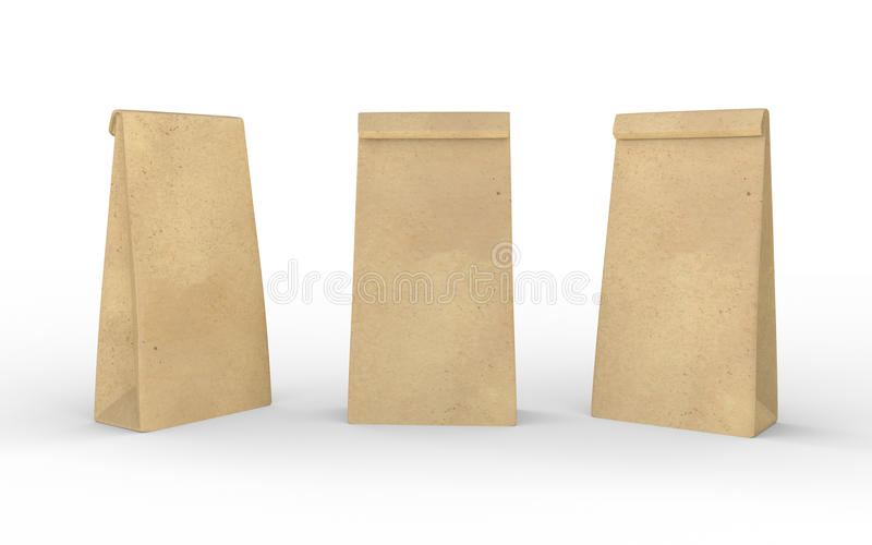 Brown paper lunch bag isolated on white with clipping path vector illustration