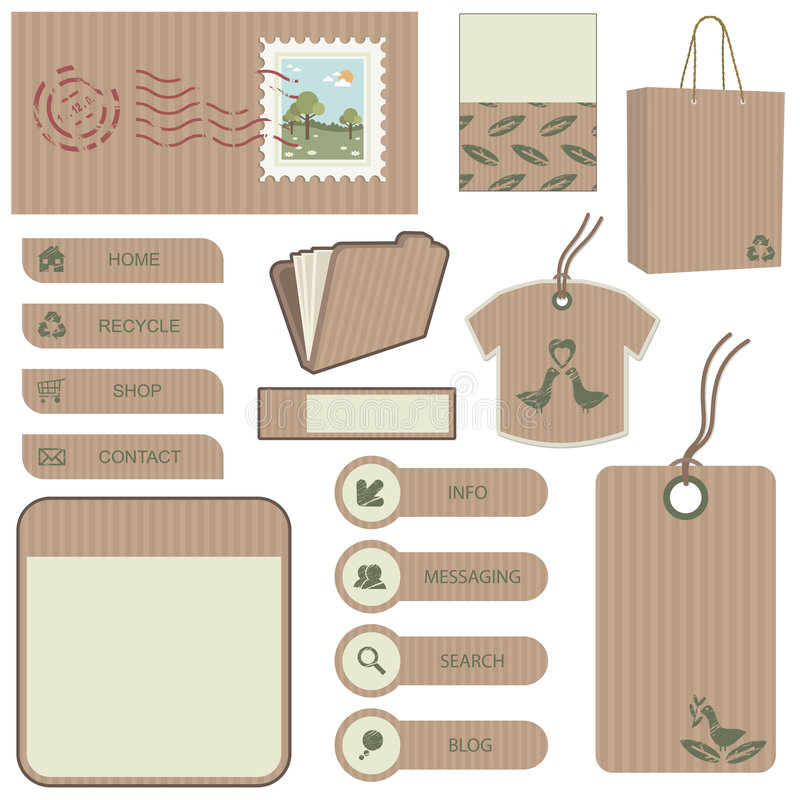 Brown paper object set royalty free illustration