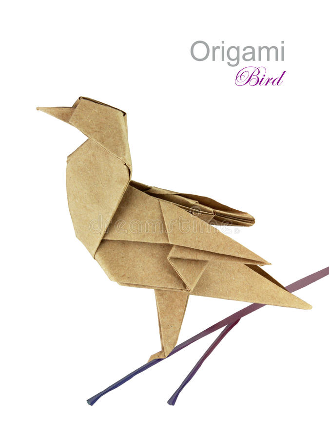Brown paper origami twitter bird royalty free stock photos