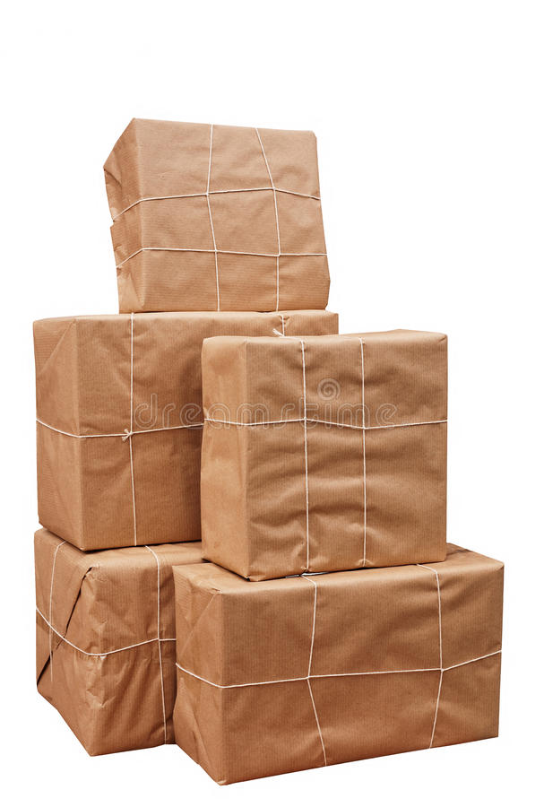 Download Brown Paper Packages Tied Up With String Stock Photo - Image of isolated, seasonal: 17235396