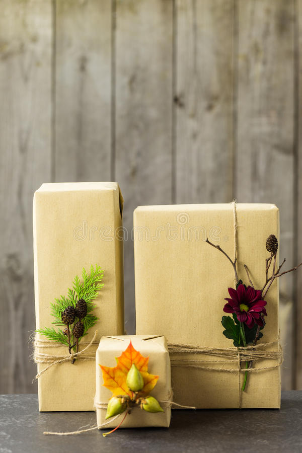 Free Brown Paper Packages Tied Up With String Stock Image - 46124261