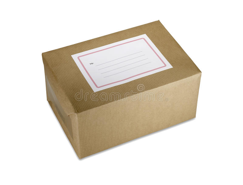 Brown paper parcel with blank label clipping path stock photo