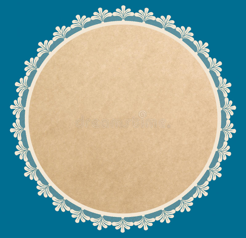 Brown paper round frame with lacy side stock illustration