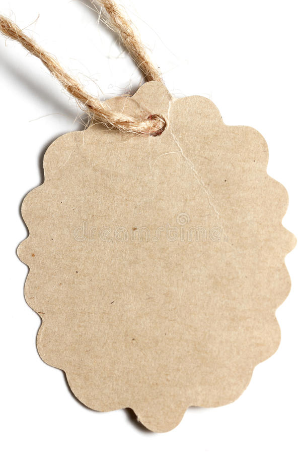 Brown paper Tag label. On White background stock photography