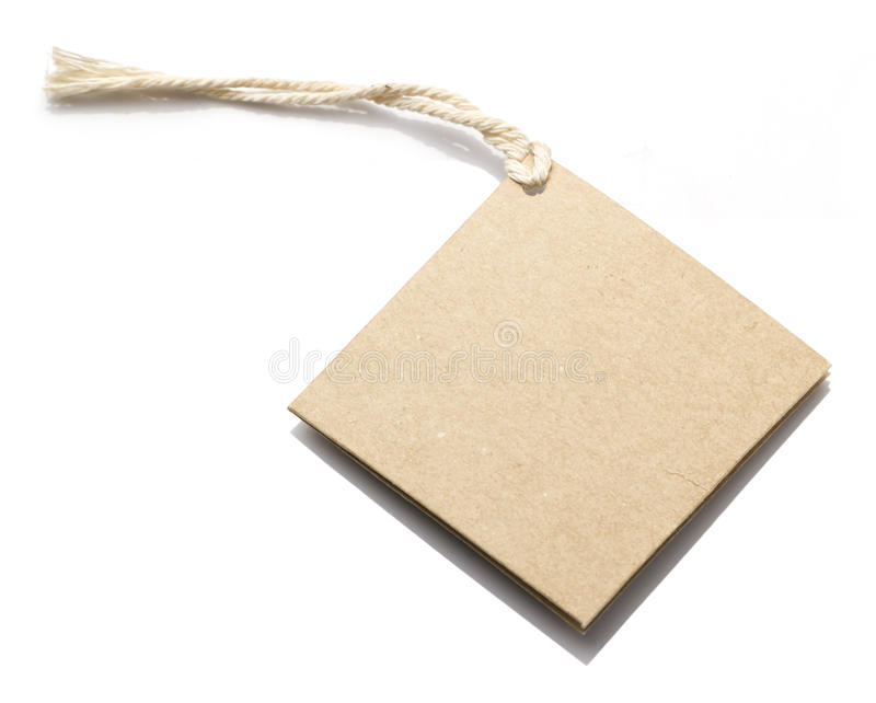Brown Paper Tag Label. White background stock image