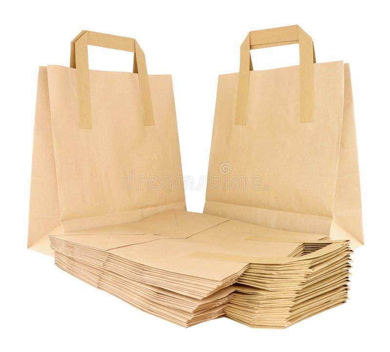 Brown Paper Take Away Food Carrier Bags stock image