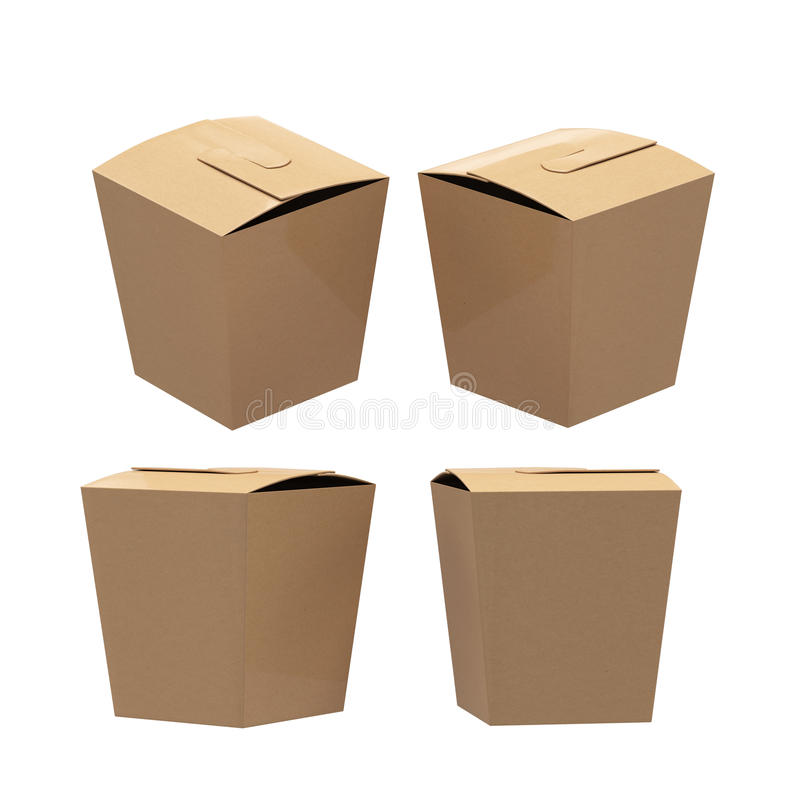 Brown paper taper square butterfly buckle biscuit box with clipping path royalty free illustration