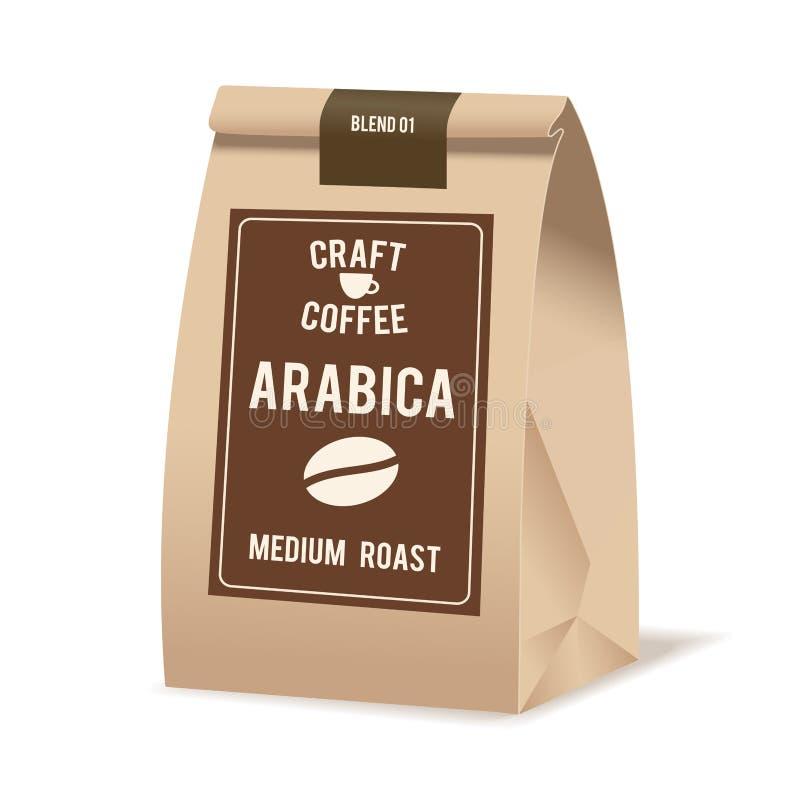Brown-Papier-Lebensmittel-Taschen-Paket des Kaffees Realistische Vektormodellschablone VektorVerpackungsgestaltung lizenzfreie abbildung