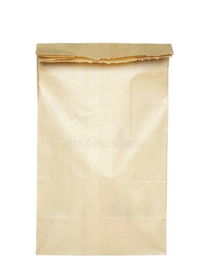 Brown-Papierbeutel getrennt stockbild