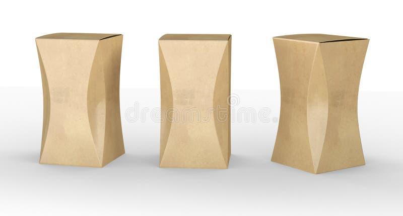 Brown-Papierkastenpaket mit Kurve, Beschneidungspfad eingeschlossen lizenzfreie abbildung