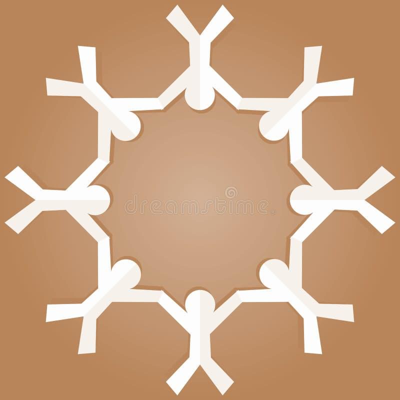 Brown-Papierkraftpapier-Leute in einem Kreis vektor abbildung