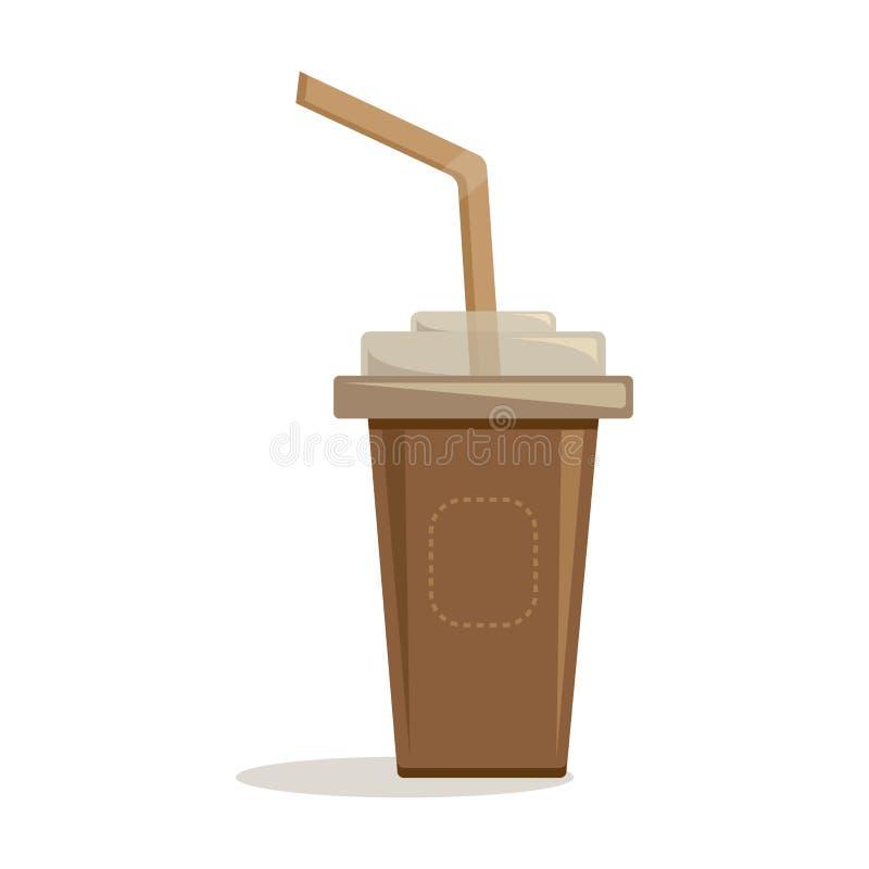 Brown papierowa filiżanka z plastikowym deklem i słomą dla kawy, herbata, cappuccino, kawa espresso wektor ilustracja wektor