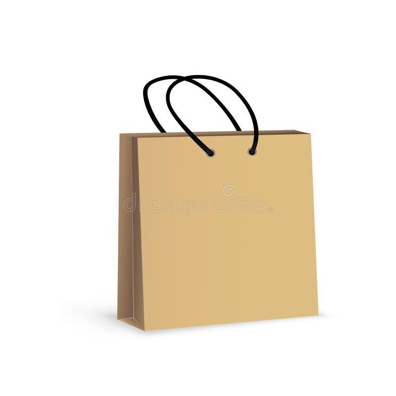 Brown papierowej torby bielu tło royalty ilustracja