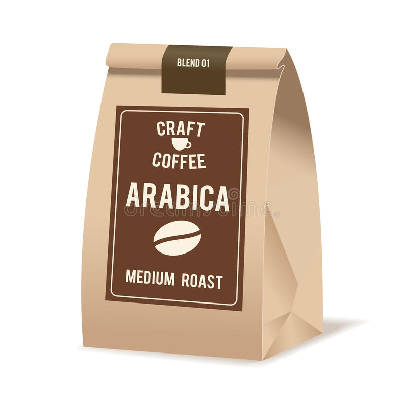 Brown papieru torby Karmowy pakunek kawa Realistyczny wektorowy mockup szablon Wektorowy pakuje projekt royalty ilustracja