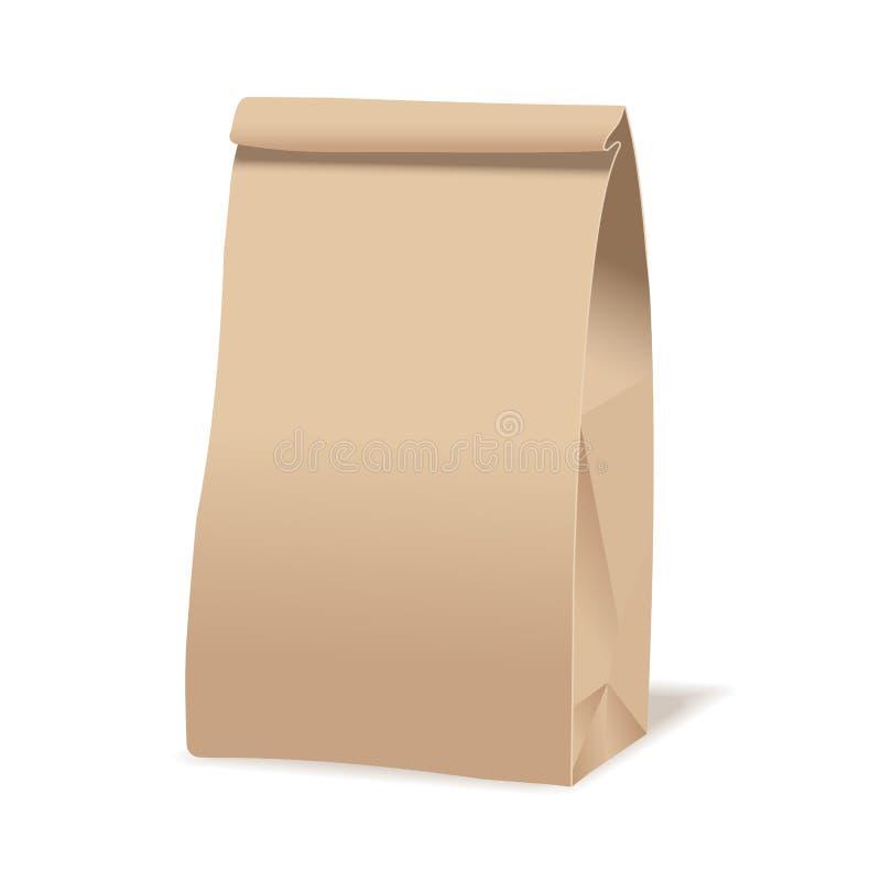 Brown papieru torby karmowy pakunek Realistyczny wektorowy mockup szablon Wektorowy pakuje projekt ilustracja wektor