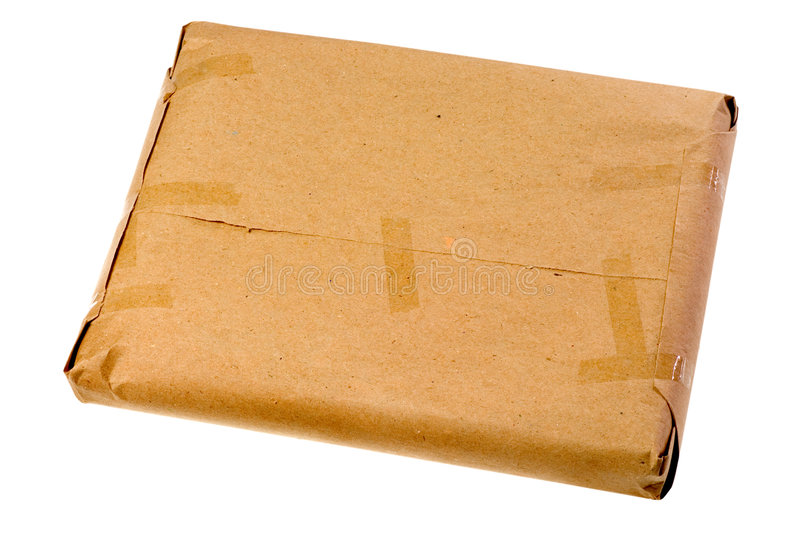 Brown parcel. Isolated on white background stock photography