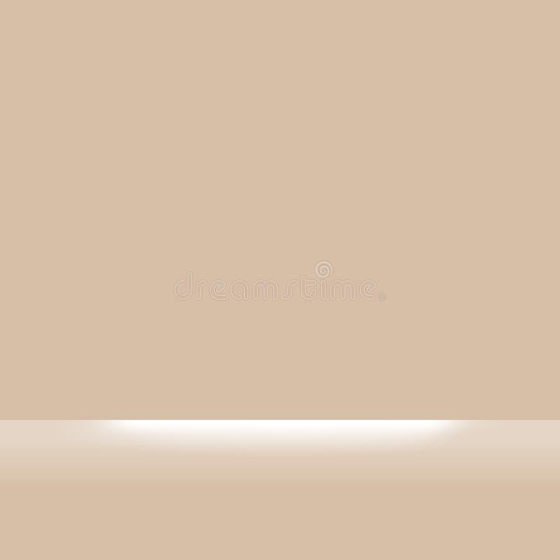 Brown-Pastellfarben weich und weißer heller Glanz für den Rechteckhintergrund, Hintergrundbraun und Scheinwerfer weich, brauner stock abbildung