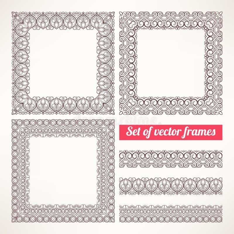 Brown patterned frames - 1 vector illustration