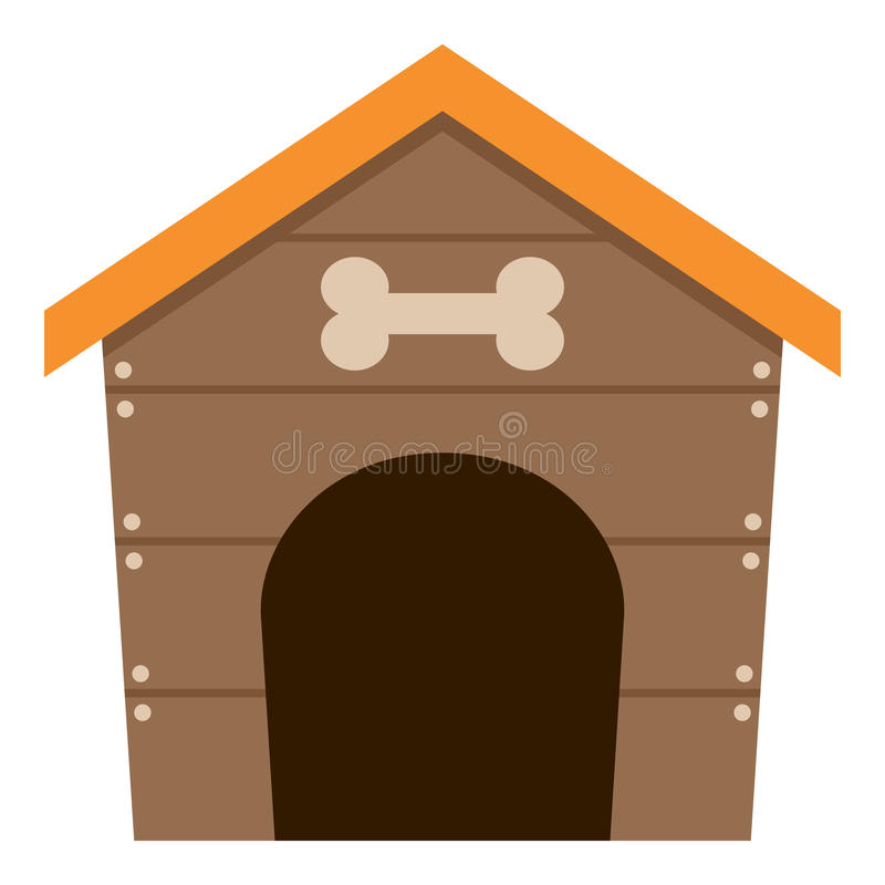Pet Dog House Flat Icon Isolated on White. Brown pet dog house flat icon, isolated on white background. Eps file available vector illustration