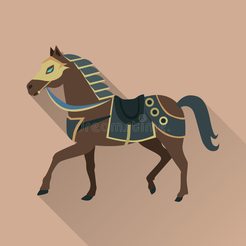 Brown-Pferd im Goldkragen Lokalisierte Avatara-Ikone lizenzfreie abbildung