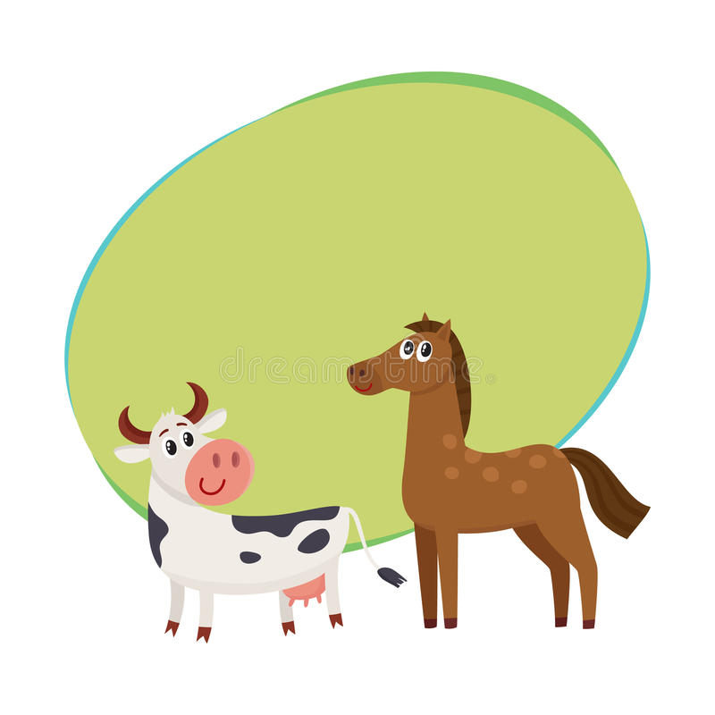 Brown-Pferd, Schwarzweiss-Kuh mit großen Augen vektor abbildung