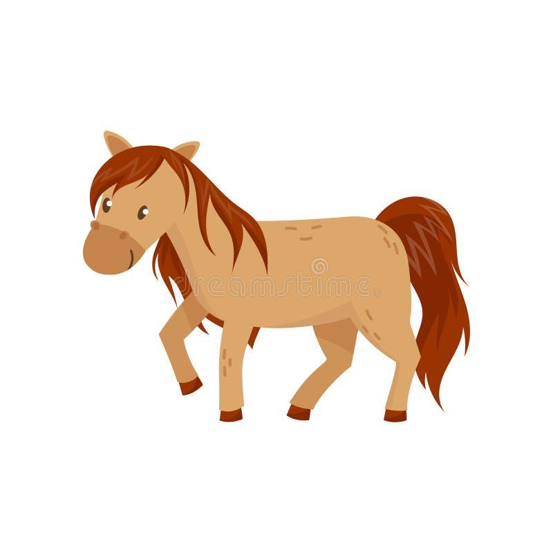 Brown-Pferdepony-Vektor Illustration auf einem weißen Hintergrund stock abbildung