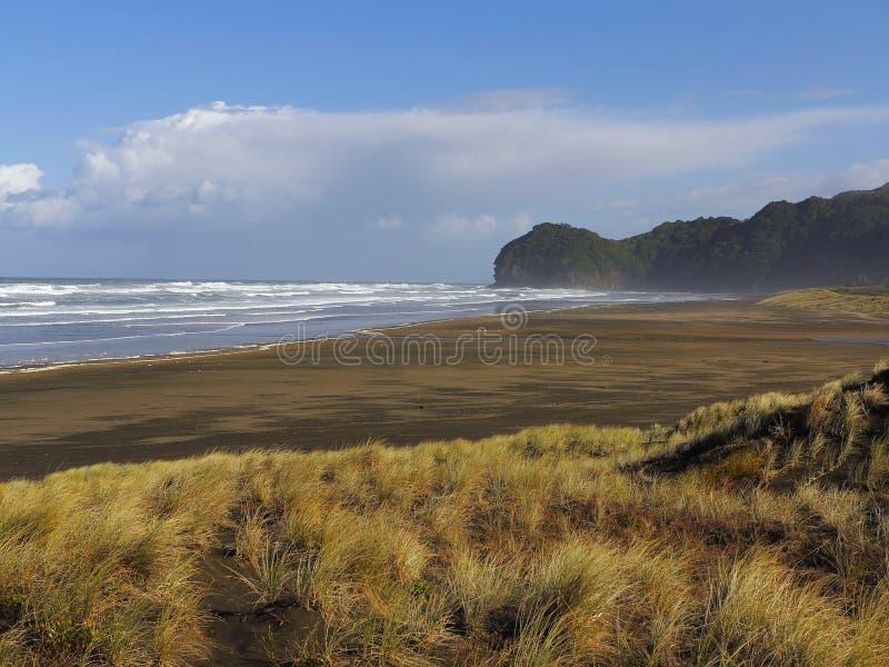 Brown piaska plaża z Szeroką diuną Wietrzny Suny dzień Góry w tle zdjęcie royalty free