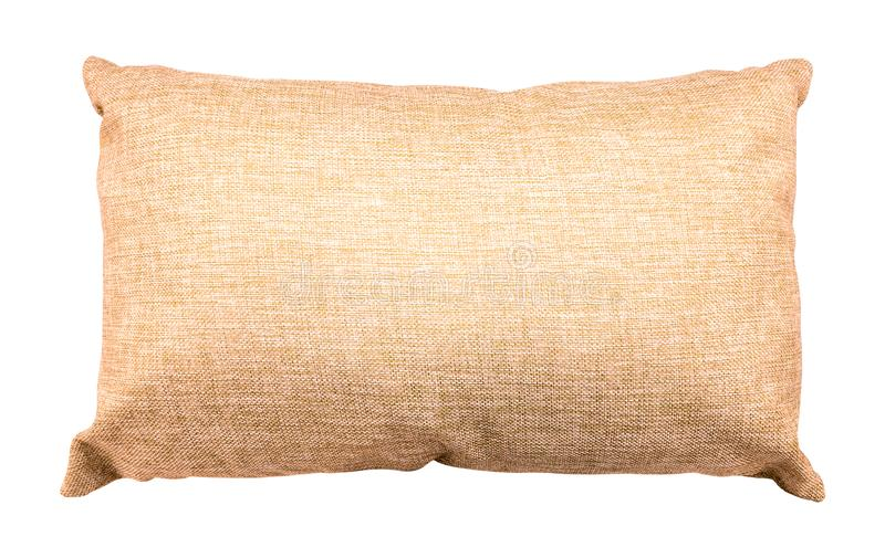 Brown pillow isolated on white background. Soft cushion made from burlap material. Clipping path royalty free stock photo