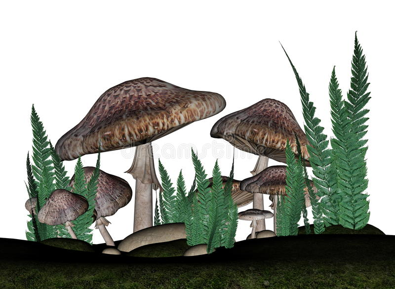 Brown-Pilze - 3D übertragen stock abbildung
