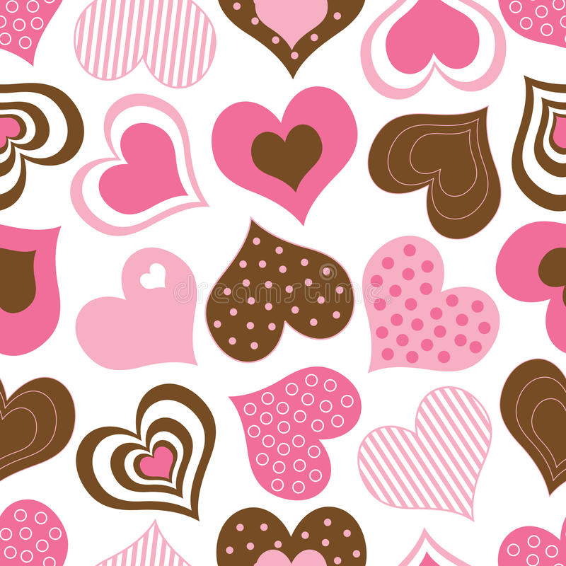 Download Brown And Pink Hearts Pattern Royalty Free Stock Photo - Image: 12451335