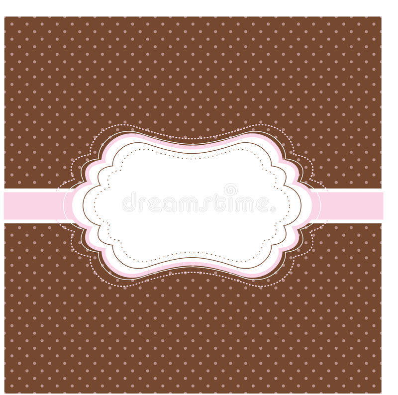 Brown and pink vintage card royalty free illustration