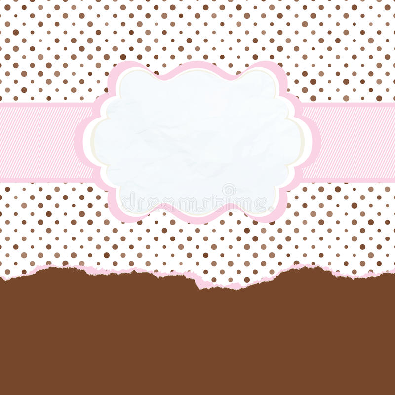 Brown and pink vintage card template. EPS 8 royalty free illustration