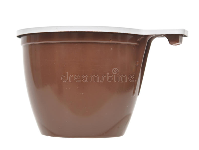 Brown plastic cup stock photo