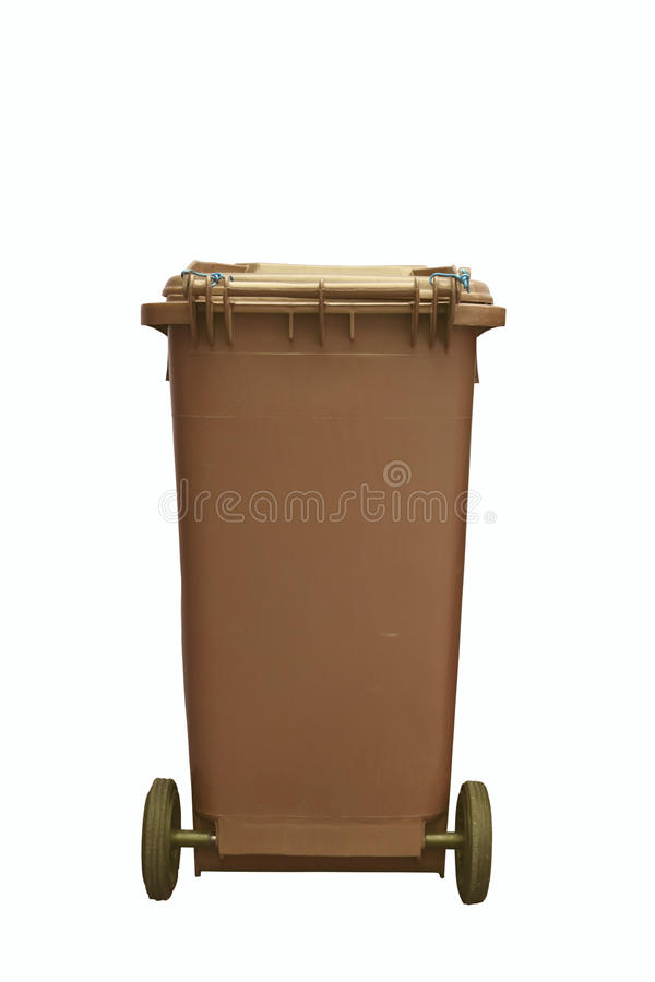Brown plastic garbage bin isolated on white background royalty free stock photography