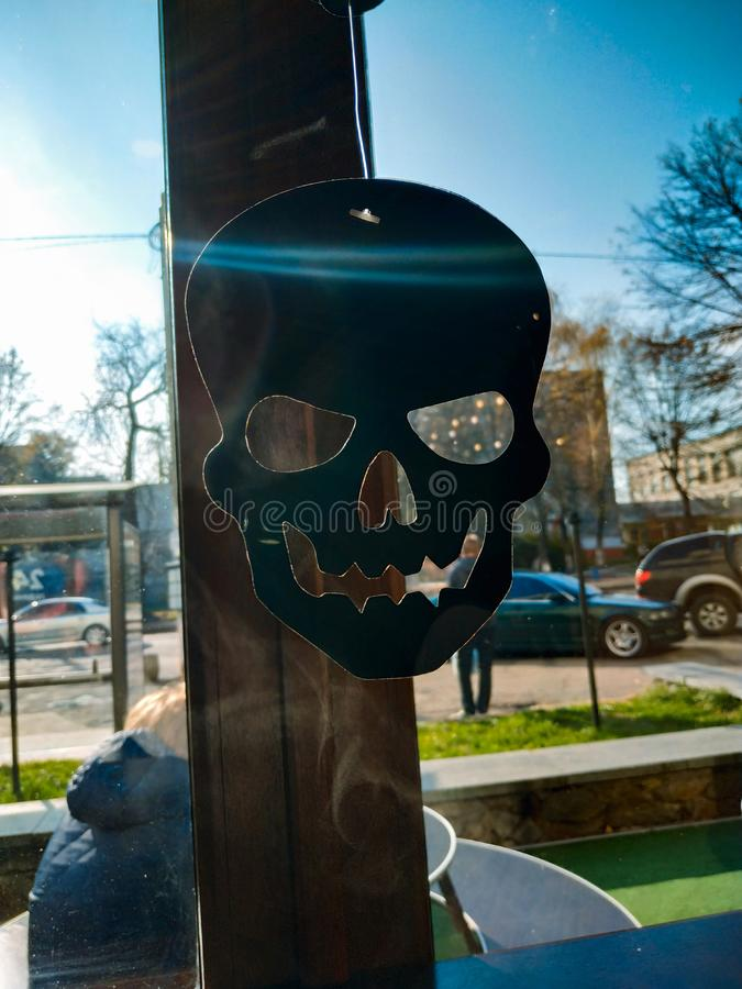 Brown plastic toy scull against sunny park. At window royalty free stock images