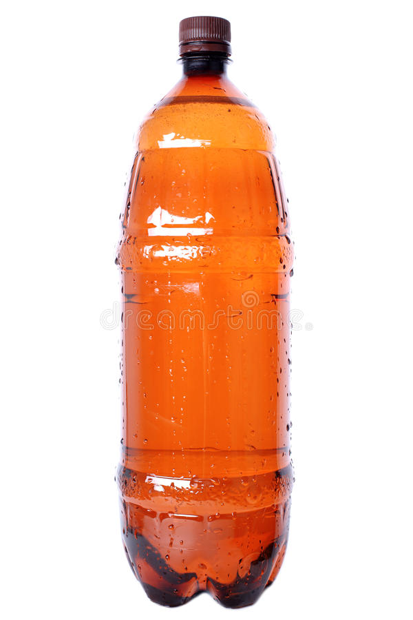 Brown-Plastikflasche stockbild